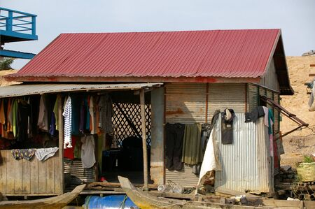 lean to house of mekong fisherman cambodia photo