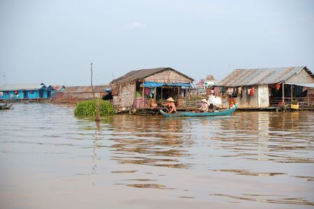 mekong: house floating on the mekong delta cambodia