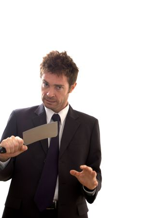 cleaver: Finance worker in crisis holding meat cleaver Stock Photo