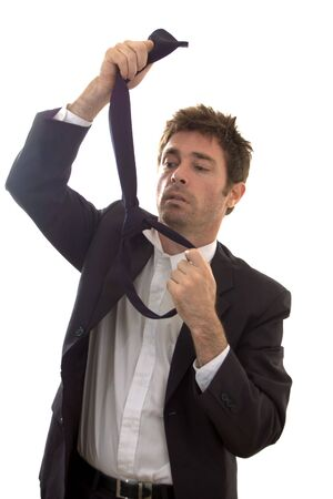business man at end of tether constructing noose
