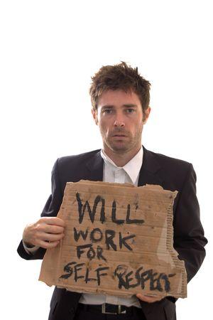 dignidad: desempleados con el hombre conceptual signo de la dignidad Foto de archivo