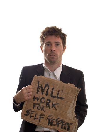 dignit�: homme d�sesp�r� voulant dignit� par l'emploi