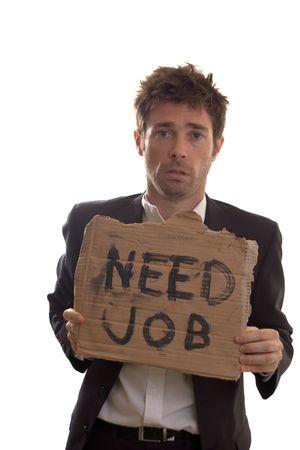 Desesperados ojos de un hombre de negocios umemployed Foto de archivo - 5137423