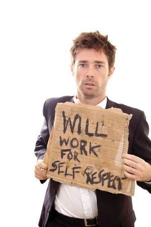 desolaci�n: desolaci�n que muestra en la cara de hombre de negocios despedidos Foto de archivo