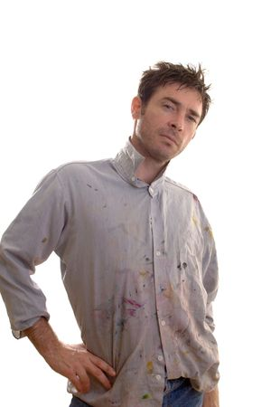 unkempt: Paint covered home handy man contemplating decorating ideas