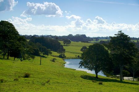 australian landscape: farm scene for background use of maleny queensland sunshine coast Stock Photo