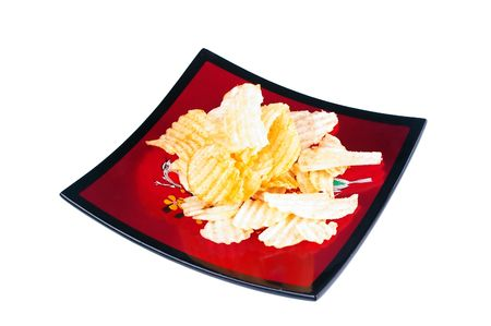 potato chips on red lacquered serving bowl Stock Photo - 5323699