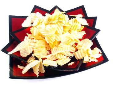 potato chips on red lacquered party bowl Stock Photo - 5323700