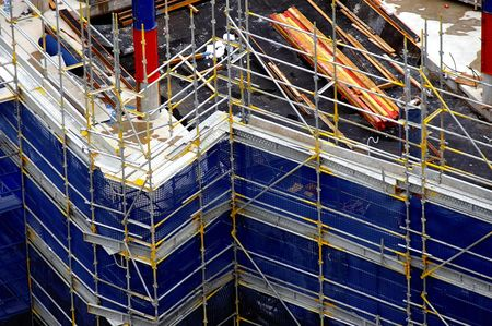 development construction site showing scafold framework pattern photo