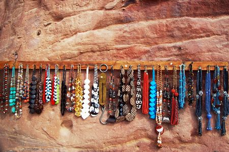 petra: bedouin necklaces for sale in the petra Jordan ancient ruins