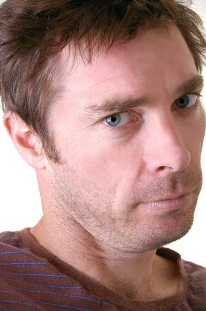 Casual Caucasian white male in t shirt head shot isolated  photo