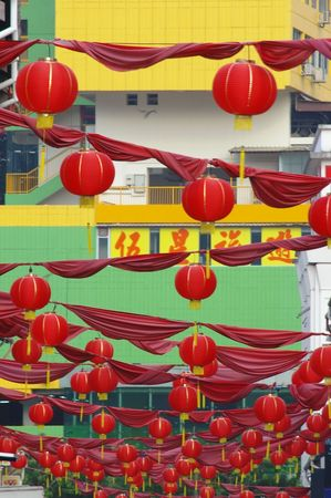 papierlaterne: H�ngende Stra�e rote Laterne Chinatown Singapur Papier