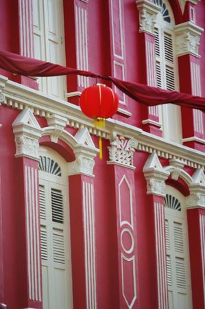 colorful lantern: hanging street red paper lantern chinatown singapore Stock Photo
