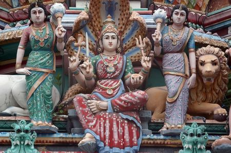 india cow: Detail of Hindu temple in little India Singapore