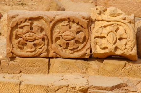 petra  jordan: Stone carving remnants details in petra jordan