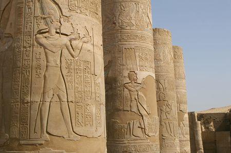 hieroglyphics on Columns of the famous eygpt temple of como ombo photo