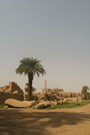 Unique view of the ruins of Luxor temple and the Egypt landscape photo