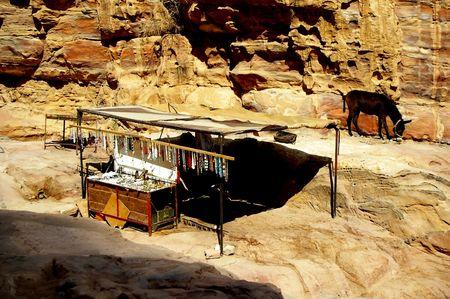 bedouin: bedouin  souvenirs  for sale in shack petra jordan