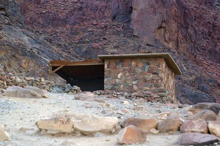 commandment: isolated hut amongst the rocks of Mount Sinai the place of Moses and the ten commandments Egypt