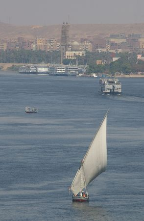 A Felucca on the nile in southern Egypt tourist town of aswan photo