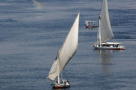 A Feluccas on the nile in southern Egypt tourist town of aswan photo
