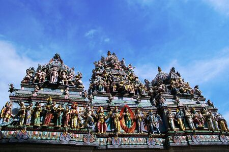 singapore culture: one of the many amazingly carved hindu temples in little india and Chinatown singapore Stock Photo