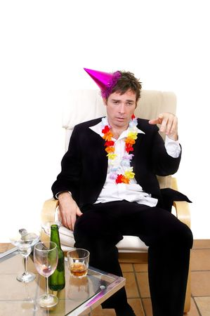 holiday stress: fake drunk acting like a boob business man at christmas party or new years eves party concept