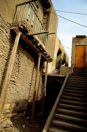 typical grunge house in christian cairo egypt  photo