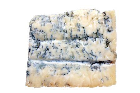 Brocken: Gorgonzola-K�se-Chunk isoliert auf wei�em Hintergrund