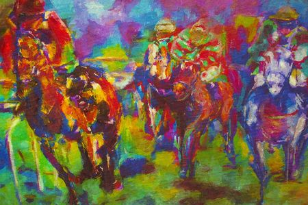 racecourse: original oil painting on canvas for giclee, background or concept.horse racing Stock Photo