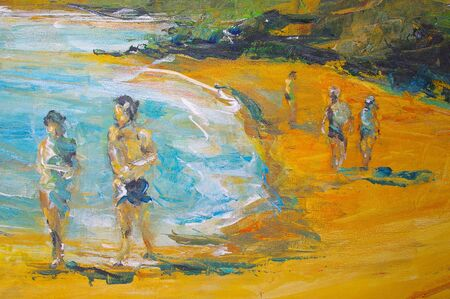 original oil painting on canvas for giclee, background or concept beach scene Stock Photo - 6695103