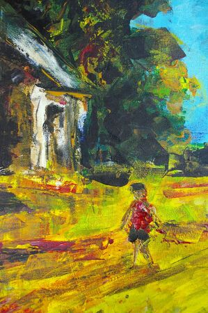 original oil painting on canvas for giclee, background or concept featuring house photo