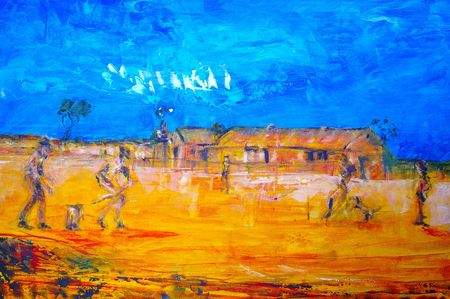 original oil painting on canvas for giclee, background or concept featuring game of bush cricket Stock Photo - 6695089