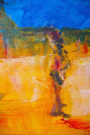 outback: original oil painting on canvas for giclee, background or concept featuring man in outback scene
