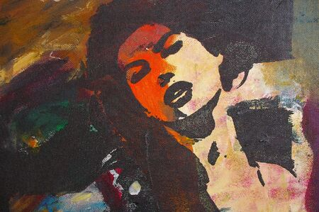 originale dipinto a olio su tela per giclee, sfondo o concept.pop ritratto di womans viso
