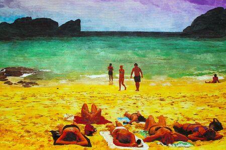 beach babe: originale dipinto a olio su tela per giclee, sfondo o concetto.