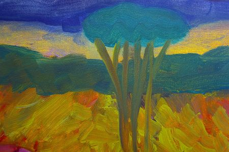 original oil painting on canvas for giclee, background or concept. australian bush abstract landscape Stock Photo - 6695108