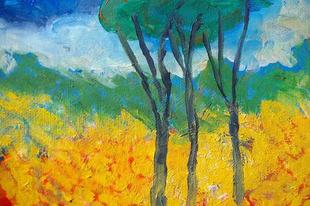 impressionism: original oil painting on canvas for giclee, background or concept. australian bush abstract landscape Stock Photo