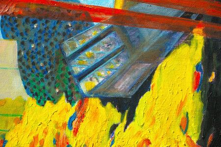 original oil painting on canvas for giclee, background or concept. Abstract future city  photo
