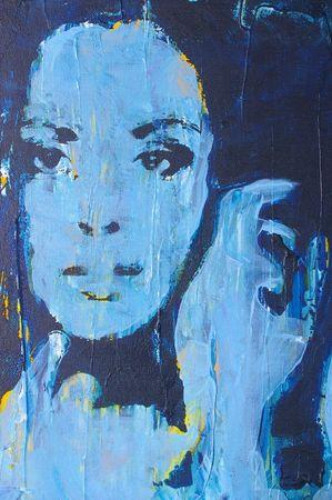 modern girl: Original oil painting artwork on textured canvas