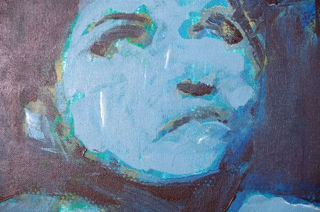 cowering: Original oil painting artwork on textured canvas