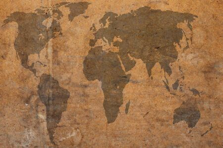 vintage world map: world map brown grunge art background style Stock Photo