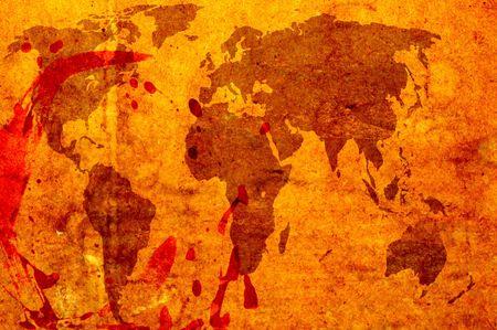 world map brown grunge art background style photo