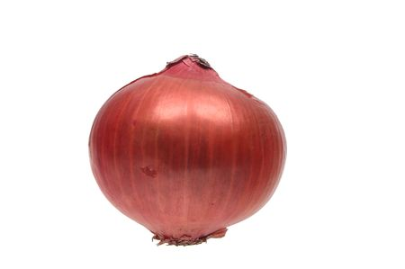 one whole red onions over white isolated photo