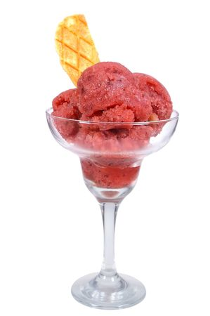 kiwi fruit and watermelon cherry flavoured sorbet in glass photo