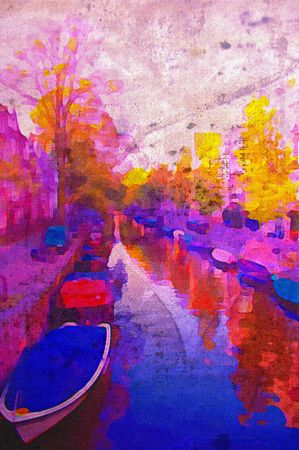 amsterdam canal: oil painting of amsterdam canal early morning light