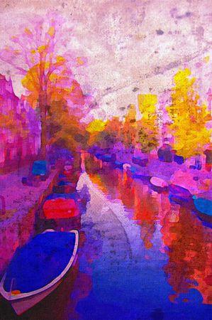 Pittura ad olio di luce mattutina canale di amsterdam