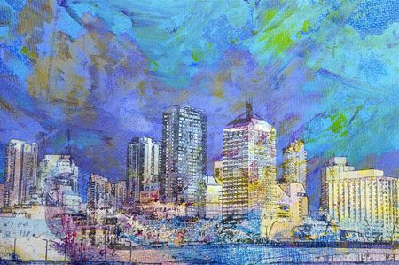 Pittura ad olio di citt� irriconoscibile edifici e paesaggio