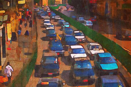 crowded: origainal oil painting of peak hour taxi traffic cairo
