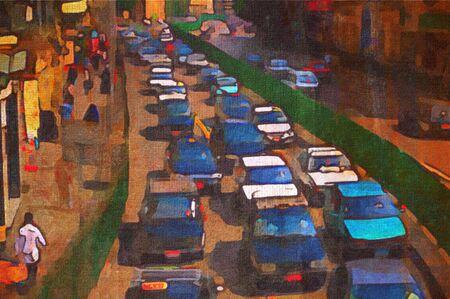 Pittura ad olio origainal di picco ora taxi traffico cairo-dock